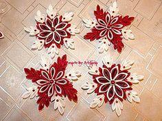 Dekorácie - Červeno-biele vianočne vločky na stromček.. :) - 7224088_
