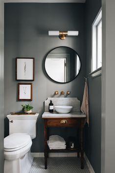 Dark Gray Bathroom, Serene Bathroom, Dark Bathrooms, Small Bathroom, Timeless Bathroom, Home Design, Design Ideas, Design Inspiration, Interior Inspiration