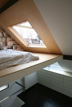 Bed, window - pitched roof