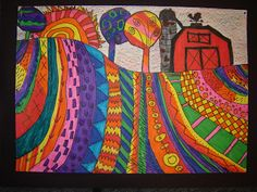 Jamestown Elementary Art Blog: 4th grade. Love this idea, but will use zentangles for the landscape.