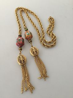 IBA Cloisonne LARIAT Necklace Gold Tassels by thepopularjewelry