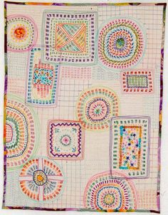 Beautiful embroidered mini-quilt by Debby Schnabel of Debby Quilts. (Enlarge this one to see the cool details!)