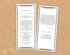Printable Wedding ceremony program template Black Elegant by Oxee