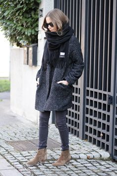 Dark Grey Boucle Knit Coat