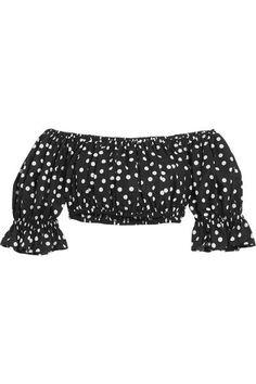 Dolce & Gabbana - Off-the-shoulder Cropped Polka-dot Cotton Top - Black - IT40