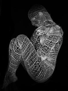 "Saatchi Online Artist: Elena Papaioannou; Black & White, 2008, Photography ""knitting human 7 AGORAPHOBIA"""