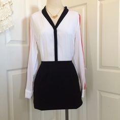 Color Block Blouse Worthington Black, Pink, White long sleeve, button front blouse; hi/lo Worthington Tops Button Down Shirts