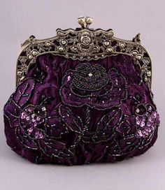 """Purple Victorian Bag You can find it at """"Roses and Teacups"""""""