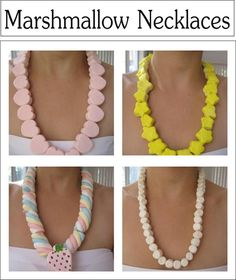 Make these cute Marshmallow Necklaces as a party favor or fun activity-Kids will love them-See 11 Necklaces all together