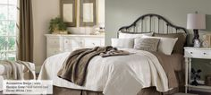 Accessible beige, escape gray behind bed, Dover white trim