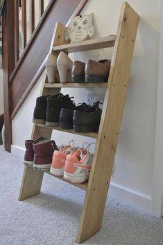 3 shelf Solid Wood Shoe Rack Oak colour storage Ladder shelf   Etsy Shoe Rack Oak, Rustic Shoe Rack, Diy Shoe Rack, Oak Shelves, Storage Shelves, Rack Shelf, Shoe Shelf Diy, Wood Ladder Shelf, Oak Color