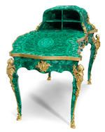 A fine Louis XV style gilt bronze mounted and later malachite veneered bureau plat retailed by Jetley, London late 19th century