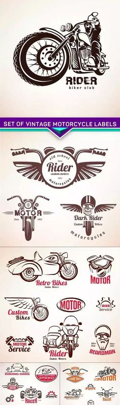 Set of vintage motorcycle labels, badges and design elements 5X EPS 5 EPS | 14…