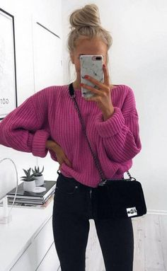 mode How do I wear a large knit sweater with style in casual outfits? Tips and ideas of outfits in t Mode Outfits, Stylish Outfits, Fashion Outfits, Fashion Clothes, School Outfits, Tumblr Fall Outfits, Legging Outfits, Sweater Outfits, Leggings Fashion
