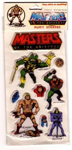 """A set of puffy stickers featuring early character art from the """"Masters of the Universe"""" line of toys"""