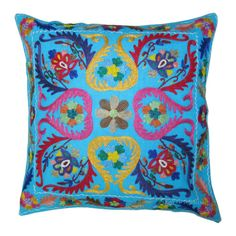 16 Sky Blue Color Suzani Embroidered Decorative by RoyalFurnish, $19.99