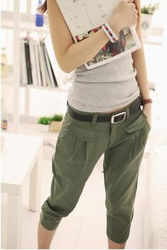 Army style Pants... it probalby DIY-able, just cut off long pants and add elastics :)