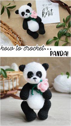 Easy crochet patterns amigurumi animals and more by ToysByKnitFriends Crochet Panda, Crochet Bear, Diy Crochet And Knitting, Crochet Gifts, Handmade Toys, Etsy Handmade, Crochet Patterns Amigurumi, Knitting Patterns, Crocheted Animals