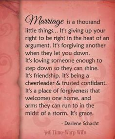 MARRIAGE is a thousand little things ... But like everything in life...it all comes down to grace.