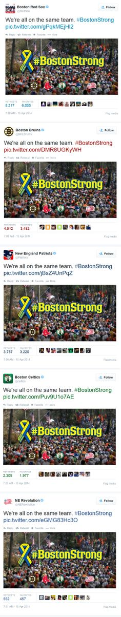 Boston Strong & Boston sports teams >> Twitter campaign on 4/15/14 >> Five professional sports teams in Boston all collaborated to send the exact same tweet, at the exact same time (10 a.m. EST on April 15) to commemorate the anniversary of the Boston Marathon bombings. This is a great example of partnering for a great cause. Who can you partner with to commemorate a special moment? —Jenny Weigle, Global Sales Enablement Consultant, Salesforce ExactTarget Marketing Cloud Boston Strong, In Boston, Boston Marathon Bombing, Swipe File, Boston Sports, Sports Teams, Cloud, Campaign, Anniversary