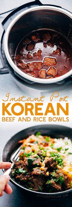 Instant Pot Korean Beef Bowls (or Burritos) Learn how to make korean beef or Korean BBQ in the instant pot when no effort at all! Perfect for weeknights and busy weekends! | Littlespicejar.com