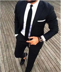 Casual Style Black Man Suit Slim Fit Groom Tuxedos 2 Piece Wedding Suits For Men Bridegroom Suit(Jacket+Pants)terno masculino Mens Fashion Suits, Mens Suits, Terno Slim, Blue Suit Wedding, Mens Black Wedding Suits, Slim Fit Jackets, Men's Jackets, Men Formal, Men's Fashion Styles