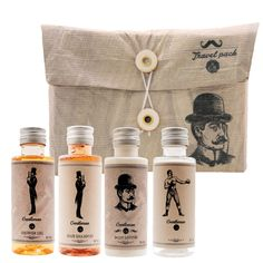 Travel pack Gentleman (Beer): Shower Gel 50 ml, Hair Shampoo 50 ml, Body Lotion 50ml, Empty Bottle 50ml. Gift Set for Gentleman, Real Men, Man, Opa, Papa,Father, Father's Day..