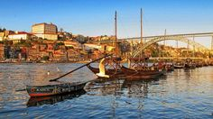 The Douro River runs through Porto, Portugal