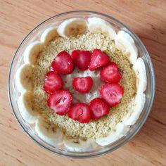 Coconut-chia oatmeal with banana,strawberry and wheatgrem