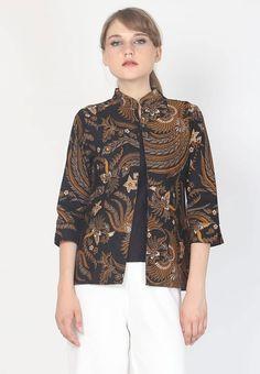 Model Baju Batik Wanita Yang Cocok Untuk Kerja Batik Blazer, Blouse Batik, Model Dress Batik, Batik Dress, Batik Fashion, Hijab Fashion, Fashion Outfits, Outer Batik, Blouse Models