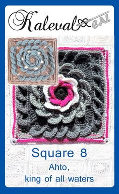 Square 8 for Kalevala CAL crochet-along. Crochet blanket with 24 squares. Tunisian Crochet, Crochet Granny, Crochet Yarn, Free Crochet, Crochet Afghans, Crochet Blankets, Crochet Squares, Granny Squares, Crochet Ideas
