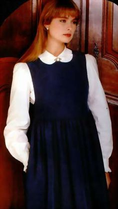 Navy blue Laura Ashley pinafore - wore this and loved wearing it before I had children. After children I wouldn't go near anything that looked maternity.