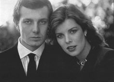 A young Princess Caroline of Monaco with her then fiance' Stefano Casiraghi....Charlotte's parents.......