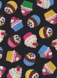 Cute Yummy Cupcake Fabric: SEW Moni Craft House 508