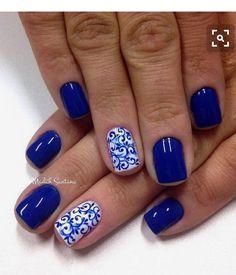 88 Mejores Imagenes De Unas En Azul Blue Nails Acrylic Nail Art Y