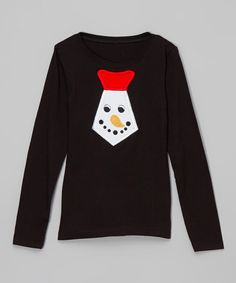 Black & Red Snowman Tie Long-Sleeve Tee - Infant, Toddler & Boys by Ruby and Rosie #zulily #zulilyfinds