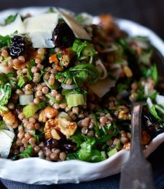 Minus the cheese, this is vegan - whole wheat pearl couscous with arugula and dried cherries.