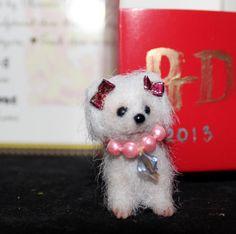 "OOAK 1"" Cernit Polymer clay Maltese dog w/box by Artist Natalya PhD Collectables"