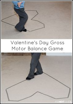 Valentine's Day Gross Motor Balance Game - Nicole @ Modern Preschool - Valentine's Day Gross Motor Balance Game Super simple Valentine's Day gross motor activity that works on balance - Kinder Valentines, Valentines Games, Valentine Theme, Valentines Day Activities, Valentine Day Crafts, Valentines Balloons, Educational Activities For Kids, Gross Motor Activities, Gross Motor Skills