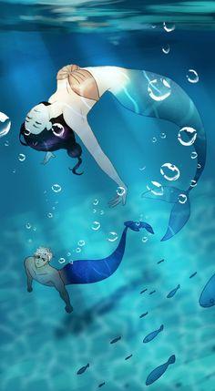 Siren's Lament by Instant Miso: Ian and Lyra Anime Mermaid, Siren Mermaid, Mermaid Art, Tattoo Mermaid, Vintage Mermaid, Manga Anime, Film Manga, Manga Art, Fantasy Mermaids
