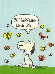 Cool retro Snoopy. The butterflies sure think so, at least. :)