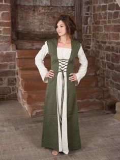Ritterladen | Mittelalterkleid mit Kapuze in natur-olive | Mittelalter Shop