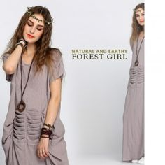 FINEJO Ladies Women Leisure Mori Girl Style Short Sleeve Waist Draped Decor Loose Linen Long Dress