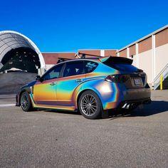 #subaru #wrx #sti #vinylwrap #3mpsychedelic #holographic #rainbow #steampunk #love Subaru Cars, Jdm Cars, Subaru Impreza, Wrx Sti, Hyundai Veloster, Drifting Cars, Car Goals, Car Painting, Custom Cars
