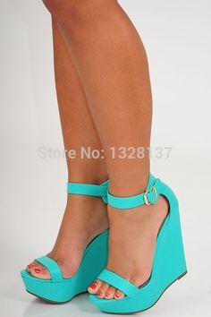 84.99$  Watch now - http://ali4ka.worldwells.pw/go.php?t=32724418417 - Casual Ladies Plus Size Sexy High Heels Platform Wedges Pumps Light Blue Summer Suede Shoes Woman Sandals sandalias femininas