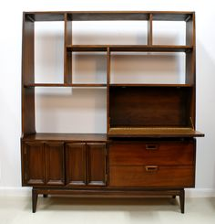 Vintage Mid Century Modern Wall Unit I like the pull out desk area which doubles as storage behind it