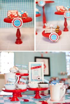 Red Wood Cake Stand-Red pops and so do these easy-to-replicate designs. They're perfect for this winter affair and would be perfect for a retro-inspired kitchen. {found on Anders Ruff}
