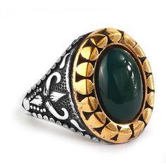 Men Ring 925 Silver,Natural Green Jade Size 9-10-11 US Men's Gemstone Jewelry #IstanbulJewellery #Statement