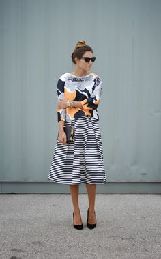 Printed top and striped skirt / Casual Friday / Dress Down Friday