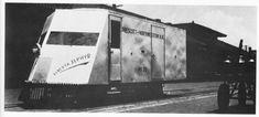 Prescott & Northwestern Railroads aluminum sheet bodied truck The Elberta Zephyr at the Missouri Pacific depot in Nashville, AR in 1934.